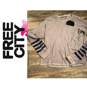 {Free City} Long Sleeve Grey Shirt